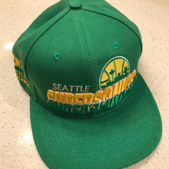 Seattle Sonics New Era 59Fifty NBA Fitted Hat SONICS Retro Back Green Size 7 1//4
